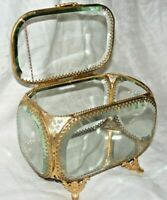 BEAUTIFUL BEVELLED GLASS AND GILT METAL JEWELLERY BOX CASKET MIRROR BASE