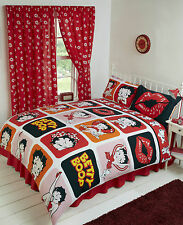 DOUBLE BED DUVET COVER SET BETTY BOOP LIPS PICTURE PERFECT ORANGE PINK GIRLS