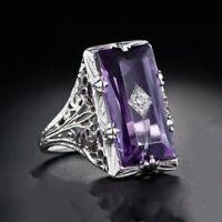 Women Fashion Exquisite 925 Silver Amethyst Purple Gemstone Ring Crystal Jewelry