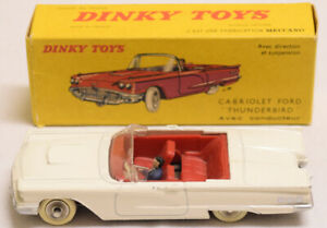 DINKY #555 CABRIOLET FOR THUNDERBIRD, WHITE BODY, RED INTERIOR, NR-MINT, VG+ BOX
