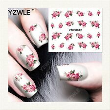 Pink Roses Flowers Nail Art Sticker Decal Decoration Manicure Water Transfer