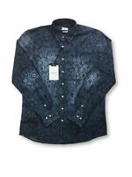 Hamaki-Ho Limited Edition shirt in denim blue abstract design rrp £99.99