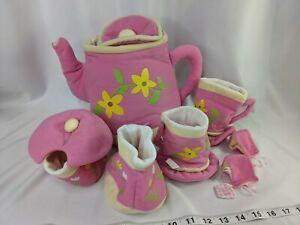 Cloth Tea Set Pot Cups Sugar Creamer Pink Stuffed Toy