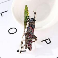 Brooch Lapel Pin Fashion Jewelry Rhinestone Grasshopper Insect Shape Metal