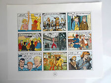 Plaquette de Timbres Tintin 1999 Tillieux Tintin Hubinon Cuvelier Jijé Sirius