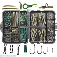 160pcs Carp Fishing Tackle Accessories Kit Lead Clips Carp Swivels Hooks Beads