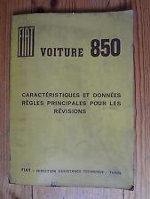 1964  FIAT Voiture 850 - Caractèristiques et données pour les révisions