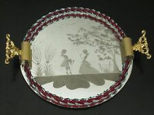 Etched Mirror Perfume Vanity Tray Venetian Red Twisted Glass Lavorato A Mano