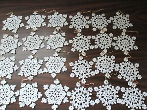 """24 Hand Crocheted White Snowflakes 3 1/2-4 """""""