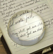Vintage 100mm Clear Crystal Ball Paperweight Half Sphere Magnifying Glass Gift