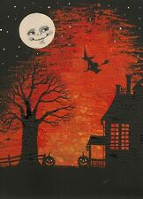 ACEO PRINT OF PAINTING HALLOWEEN FOLK ART WITCH MAGIC MOON RYTA HAUNTED HOUSE