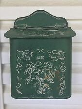 Vintage Shabby French Cottage Green Metal Mail box Letter Holder Wall Mount
