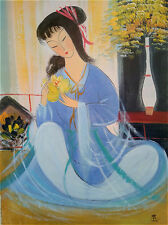 "Excellent Chinese 100% Hand Oil Painting ""Beauty"" By Lin Fengmian 林风眠  LV6"