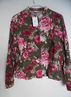 J JILL Olive multi Floral Tapestry Brocade Jacket Sz M NWT
