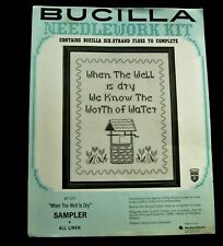 """New ListingVintage Bucilla Linen Cross Stitch Kit """"When the Well is Dry"""" Sampler"""