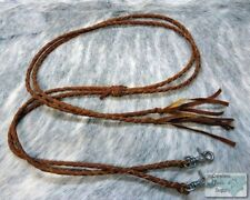 6 1/2' LIGHT OIL Leather Braided Western Split Reins! NEW HORSE TACK!!