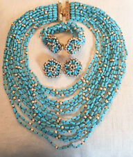 DeLILLO turquoise & pearls18 strand necklace, bracelet &earrings suite~3PCS~T4