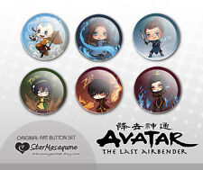 Avatar the Last Airbender Buttons Pins Set - Anime Chibi Art Aang Katara Zuko +