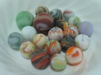 20 Swirl Frosted Sea Glass Beach Style Marbles Multicolor Orange Red Shooter
