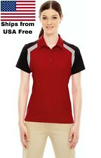 Ladies' Edry® Colorblock Polo Red And Black UV Moisture wicking 2XL Ships Free