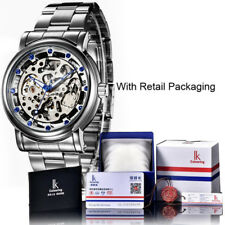 IK Colouring Men Automatic Mechanical Stainless Hollow Military Rhinestone Watch