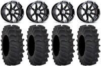 "MSA Black Diesel 14"" UTV Wheels 28"" XM310 Tires Textron Wildcat XX"