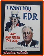 """JC&C -RARE- Original 1900s Franklin D. Roosevelt: Uncle Sam """"I Want You"""" Poster"""