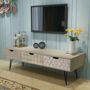 Sideboard TV Cabinet 3 Drawers Storage Elegant Entertainment Unit Stand Grey