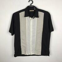 Havanera Camp Shirt Mens Size XL Rayon Blend Black Beige Short Sleeve Striped