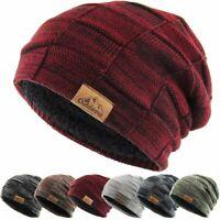 Slouch Baggy Beanie Sherpa Fleece Lined Ski Hat Knit Winter Skully Kbethos
