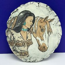 Shapes of Clay Native American woman horse signed art pottery ash mt st helens