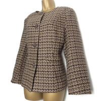 Vintage M&S Classic Tweed Jacket Size 14 Collarless Brown Lined Blazer Military