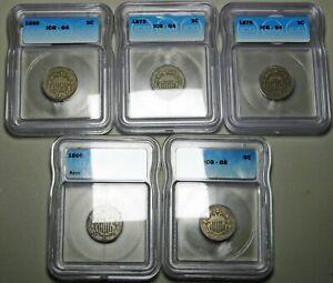 1866 1868 1869 1872 1876 Shield Nickel lot --- Good-4 6 Slabbed Graded ---- #735