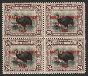 North Borneo 1922 Malaya Borneo Exh, 24c lilac block of 4 UHM SG271