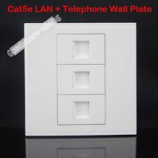 Wall Socket Plate  2 ports RJ45 Port  CAT5 + 1 RJ11 Port Panel Faceplate