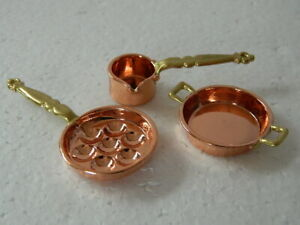 (KP3.29) 1/12th scale DOLLS HOUSE METAL COPPER COLOURED PAN SET