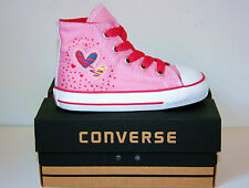 Kids Baby Girls CONVERSE All Star PINK HEARTS HI TOP Trainers Boots 21 SIZE UK 5