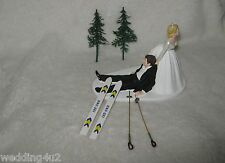 Wedding Reception Winter Ceremony Humorous Party Snow Skies Cake Topper