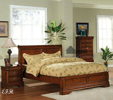 NEW VENICE DARK OAK FINISH WOOD EASTERN STANDARD KING SIZE PLATFORM PANEL BED