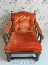 Ethan Allen Oak Wing Back Chair Royal Charter Collection 16 7431 Bronco Orange