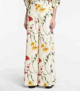$1435 NEW Oscar de la Renta High Rise Floral Palazzo Pants Wide Leg Ivory 2 4 6