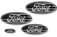 Front,Rear,Steering Wheel Decals Sticker Oval Overlay For Ford F150 09-14 USA BK