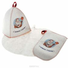 Santa Claus Bath/Sauna Gift Set, felt, Color:White, 3 items/1 Pack