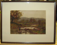 1890s Fishing in Stream Barbizon Style WC Listed Cleveland, Florida Artist