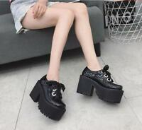 Womens Chunky High Heel Creepers Ankle Boots Club Knight Platform Shoes Lace up