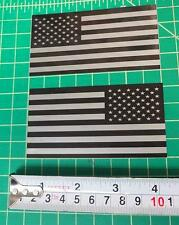 """2x Subdued American Flag 4"""" Stickers Die Cut Decal USA LH RH mirrored reverse"""