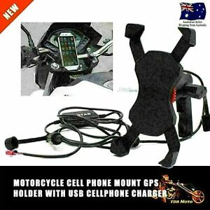 Universal X Type Motorcycle Level Mount Holder Stand USB Charger For Cell Phone