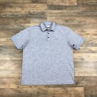 Greg Norman Mens XL Polo Golf Shirt Play Dry Blue Short Sleeve Golfer Shark Logo