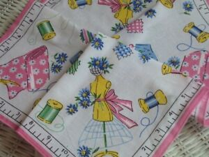 Darling Sewing Themed Ladies Handkerchief Thread Fabric Dress Form Pink / Blue