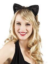 Womens Girls Black Velvet Kitty Cat Ears Headband Fancy Dress Kitten Halloween